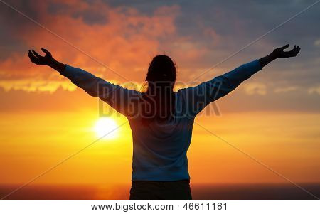 Freedom Woman On Sunset Sky