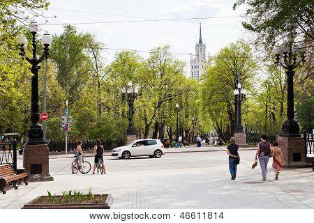 Pokrovsky Boulevard In Moscow In Spring