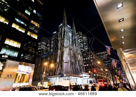 St. Patrick Cathedral In New York At Night
