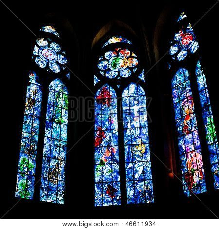 Stained Glass Works By Marc Chagall In Reims Cathedral