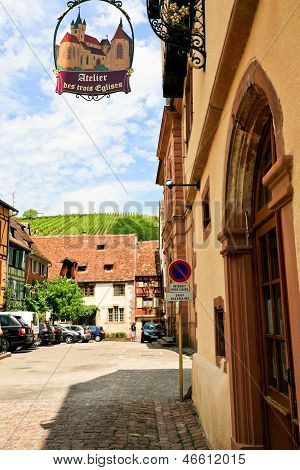 Medieval Town Riquewihr In Alsace