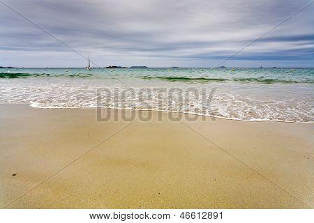 Sea Beach In Cloudy Day In Perros-guirec, Brittan