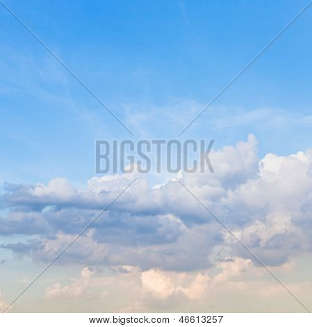 Light Stratus Clouds In Blue Sky In Spring