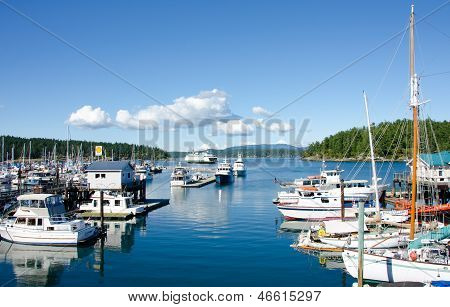 Boats moored at the marina of Friday Harbor