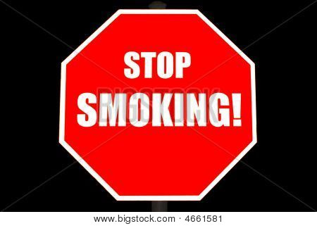 Stop Smoking Sign Isolated On Black