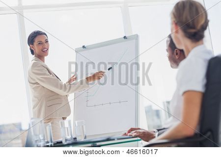 Cheerful businesswoman pointing at a growing chart during a meeting