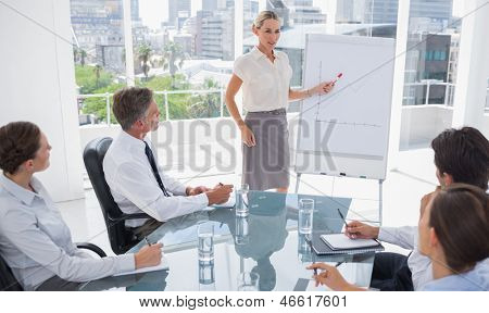 Blonde businesswoman pointing at a growing chart during a meeting