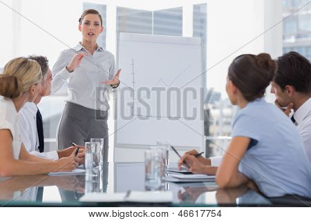 Businesswoman giving explication in front of a growing chart on a whiteboard during a meeting