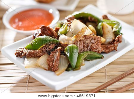 Chinese food - Pepper beef at restaurant