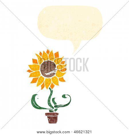 dibujos animados retro feliz hablando de flor