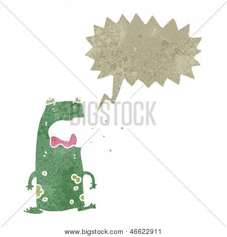 retro cartoon burping frog