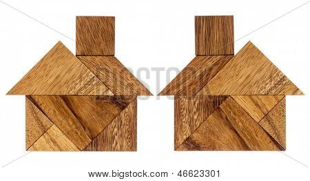 two abstract pictures of a house built from seven tangram wooden pieces, a traditional Chinese puzzle game