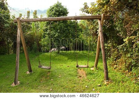 Rustic Wooden Swing Set