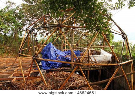 Wooden Geodesic Dome Under Construction