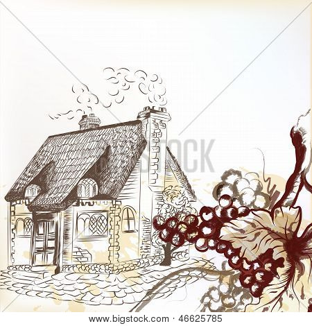 Vintage Background With Grapes And Old House