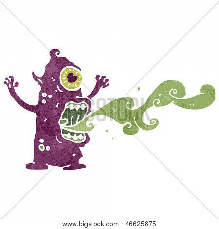 retro cartoon crazy gross monster