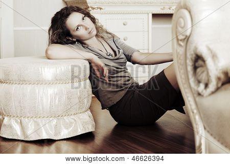 Beautiful woman at apartment