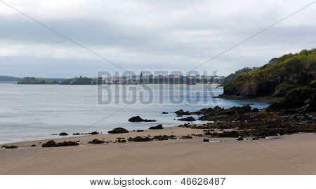 View to Tenby from Monkstone Point Pembrokeshire West Wales