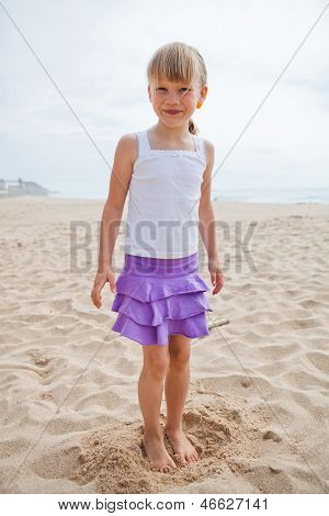 Young Smiling Girl At Beach