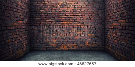 Old brick room. Grunge background