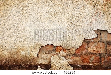 Damaged Wall Textured Background Red