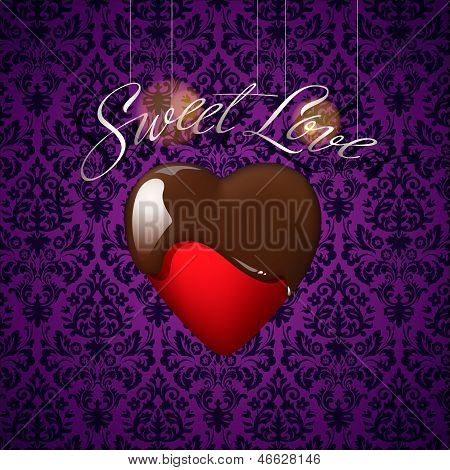 Heart with melted chocolate on floral ornament