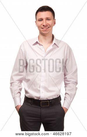 Happy man in white shirt