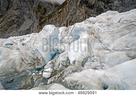 Blue Ice On An Alpine Glacier