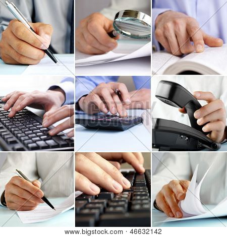 Composite Image Of Businessmen Working On Office