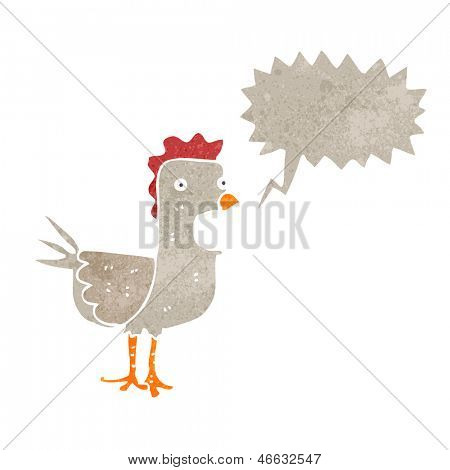 retro cartoon squawking chicken