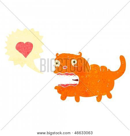 retro cartoon ugly cat in love