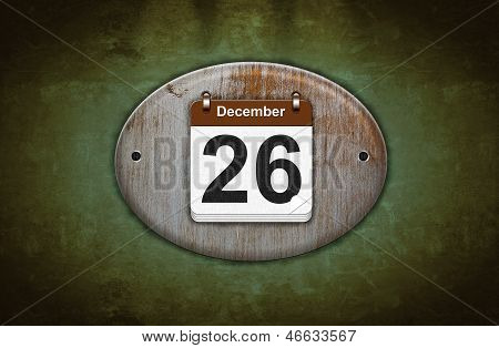 Old Wooden Calendar With December 26.