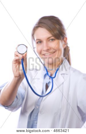 Woman Doctor Holding Stethiscope Isolated On White