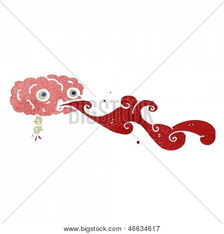 retro cartoon blood spurting brain