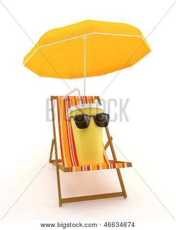 Plastic Cup For Drinks On A Deck Chair Under An Umbrella