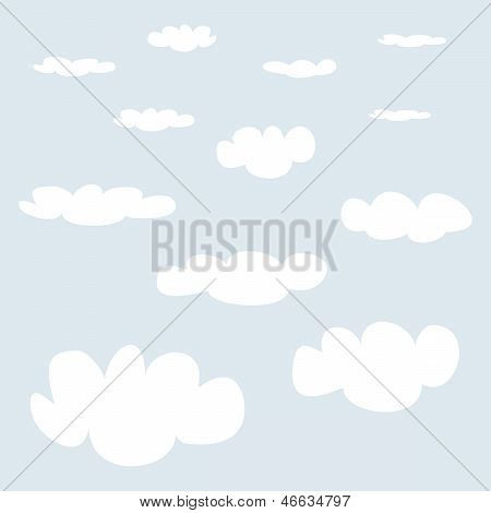 Vector white clouds on light blue sky background set.