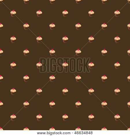 Seamless vector pattern or texture with big sweet muffin cupcakes on dark brown background