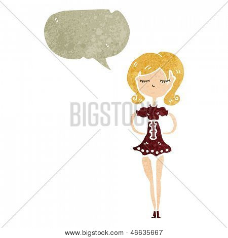retro cartoon skinny woman with speech bubble