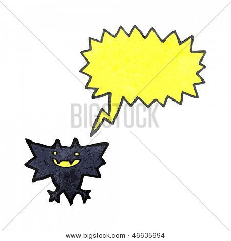 retro cartoon little halloween bat