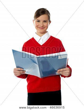Charming School Kid Reading Book