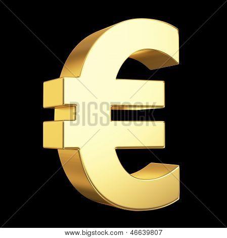 Golden euro symbol on black