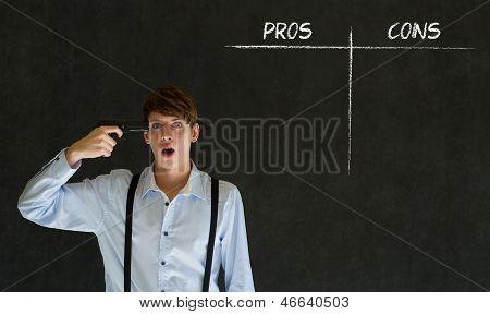 Businessman, Student Or Teacher Pros And Cons Decision List