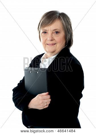Business Woman Holding Important Documents