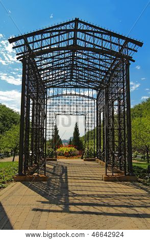 Metal Pergola At The Entrance To Maggie Daley Park In Downtown Chicago