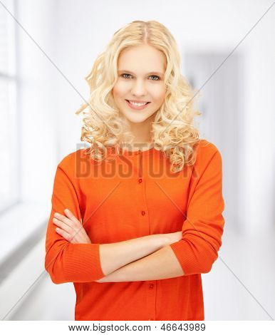 bright picture of smiling young girl at school