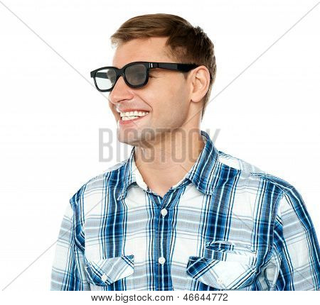 Handsome Young Man In Black Goggles