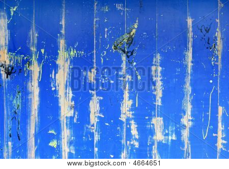 Abstract Painted Blue Grunge Wooden Creaked Wall For Background