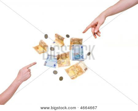 Two Hands Pointing At Money Isolated On White Background