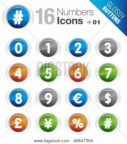 Glossy Buttons - Numbers & Currency icons
