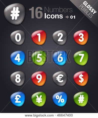 Glossy Pebbles - Numbers & Currency icons